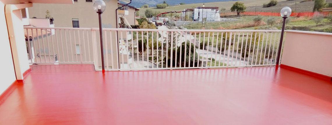 Terrazzo con impermeabilizzazione in resina realizzata da Resin System