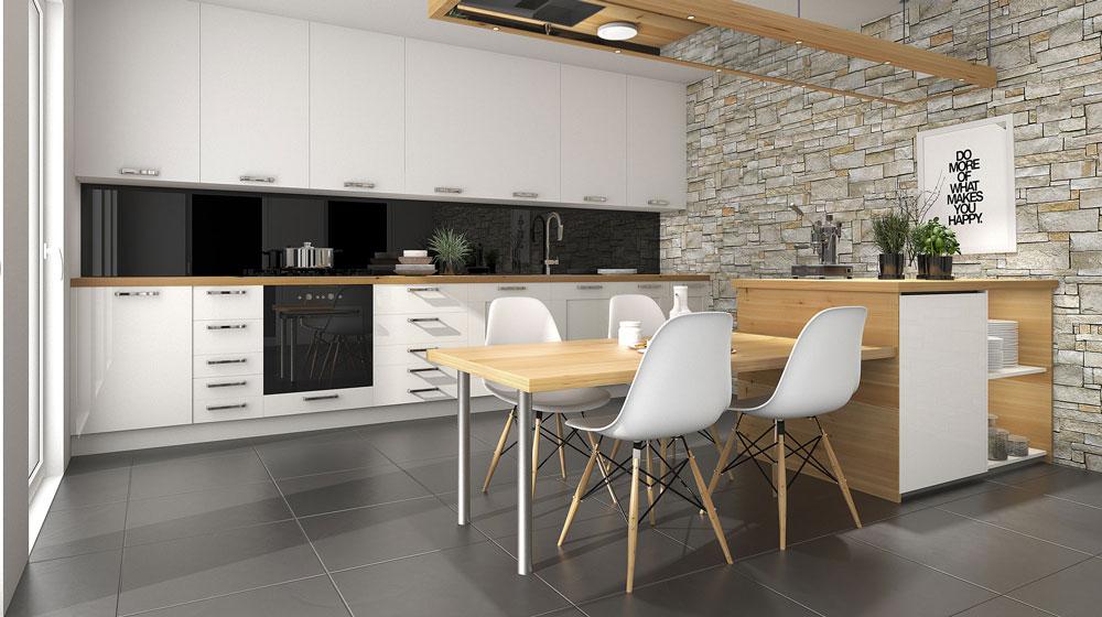 Pavimento cucina piastrelle in ceramica antracite resinsystem